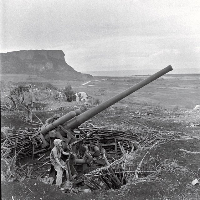 A crew maneuvers an enormous piece of artillery during the Battle of Saipan, 1944. In the waning days of the struggle for the island, thousands of Japanese civilians and troops committed suicide, rather than surrender to American troops. Many leapt to their death from the top of sheer cliffs that fall 200 feet to rocks and surf below. (Photo by Peter Stackpole/Time & Life Pictures)
