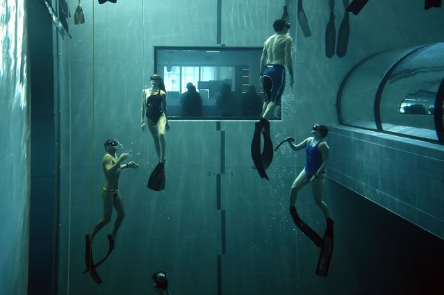 """Italian former legend of free diving, Umberto Pelizzari (L) gives a free diving course at the """"Y-40 The Deep Joy"""" swimming pool on December 8, 2014 in Montegrotto Terme, northeastern Italy. The swimming pool is built over thermal sources bringing after cooling down a water at 32-34 degrees Celsius. Y-40, with its depth of 42mt, is officially included in the Guinness World Record as the deepest pool in the world for free and scuba diving. (Photo by Olivier Morin/AFP Photo)"""
