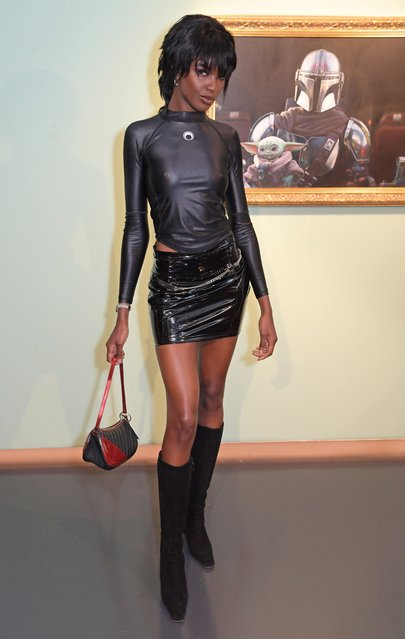"English model Leomie Anderson attends a private view of ""The Mandalorian And The Child"", a special portrait being unveiled in collaboration with the National Portrait Gallery, on October 29, 2020 in London, England. The portrait will be available to the public to view for free on the 30th and 31st of October, and marks the arrival of the highly anticipated second season of ""The Mandalorian"" on Disney+. (Photo by David M. Benett/Dave Benett/Getty Images for Disney+)"