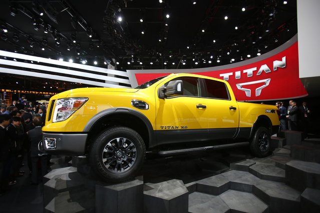 The 2016 Nissan Titan is introduced to the media during the 2015 North American International Auto Show at Cobo Center on Monday, January 12, 2015 in Detroit. (Photo by Regina H. Boone/Detroit Free Press/TNS)