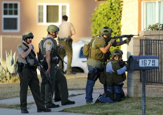 Police officers conduct a manhunt after a shooting rampage in San Bernardino, California December 2, 2015. Gunmen opened fire on a holiday party on Wednesday at a social services agency in San Bernardino, California, killing 14 people and wounding 17 others before fleeing, authorities said. (Photo by Mike Blake/Reuters)