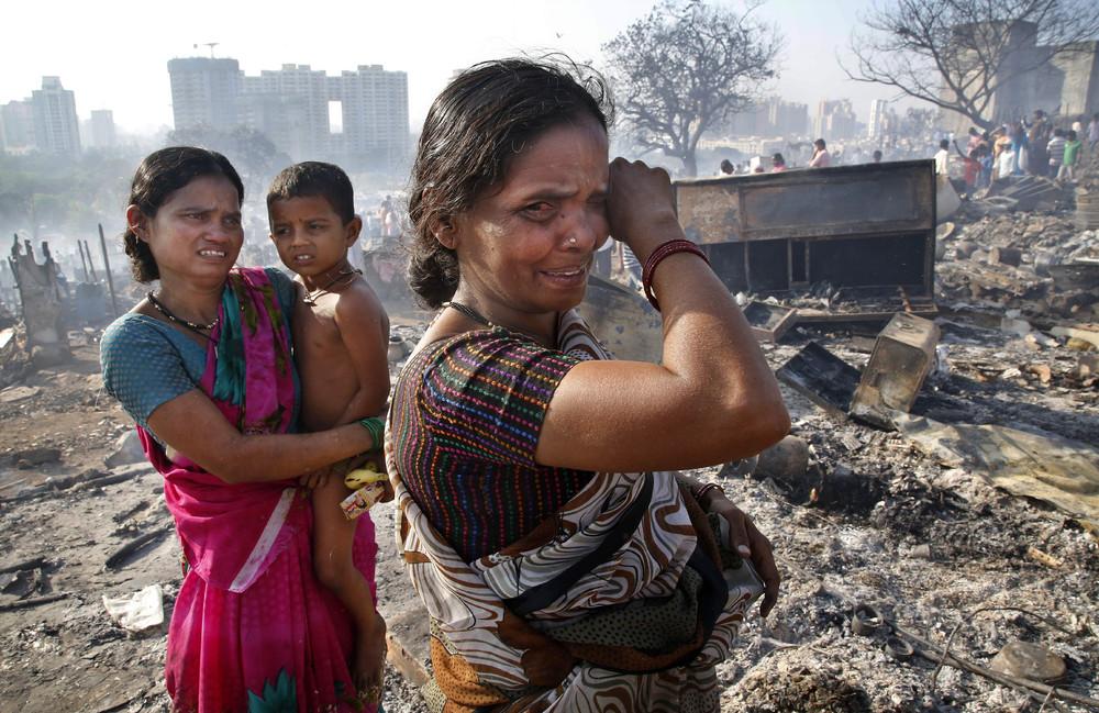 Fire in a Slum Area in Mumbai