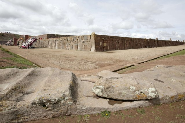 """A view of the """"Kalasasaya"""" temple before a ceremony with Bolivia's President Evo Morales in the Tiahuanaco ruins some 70 km from La Paz, January 21, 2015. (Photo by David Mercado/Reuters)"""