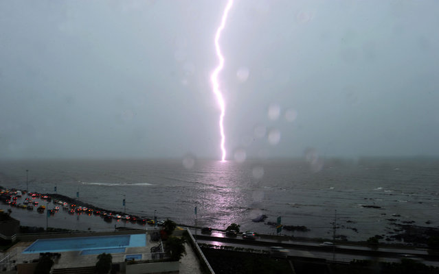 A lightning streaks on the Pacific Ocean on Panama Bay on June 24, 2013. (Photo by Rodrigo Arangua/AFP Photo)