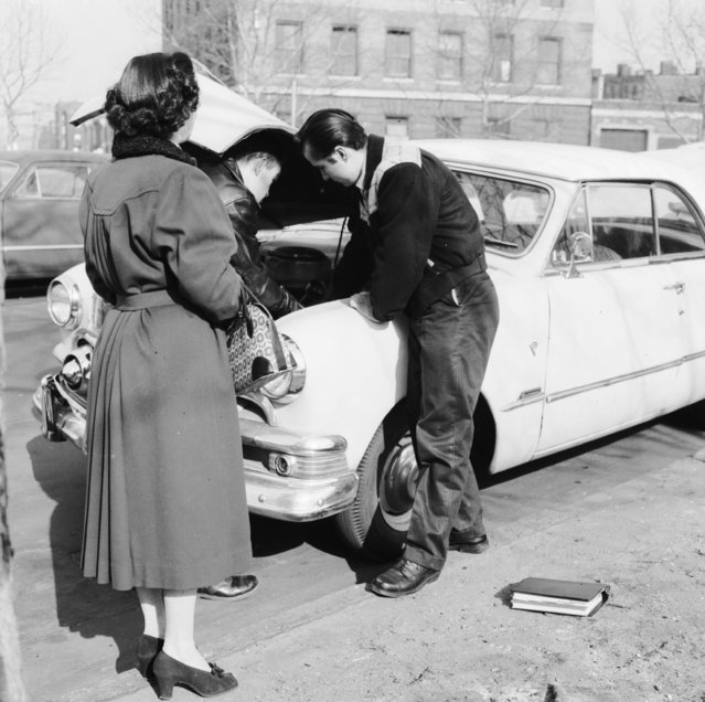 Students at Brooklyn School of Automotive Trades and members of the Automotive Custom Crafters Club are pledged to provide honest service to the motoring public without charge, circa 1956. (Photo by Three Lions/Getty Images)
