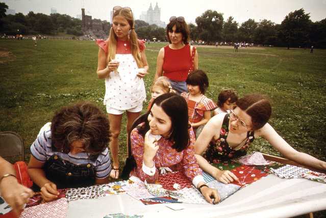 Midsummer evening quilting bee in Central Park, sponsored by the New York Parks Administration department of cultural affairs, in June of 1973. (Photo by Suzanne Szasz/NARA via The Atlantic)
