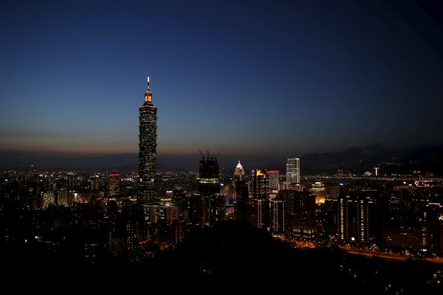 Taiwan's landmark building Taipei 101 is seen during sunset in Taipei, Taiwan April 19, 2016. (Photo by Tyrone Siu/Reuters)
