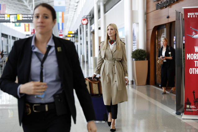 White House senior adviser Ivanka Trump walks through a terminal before boarding a commercial flight from Dulles International Airport, in Sterling, Va., Saturday April 13, 2019, en route to Ethiopia. Trump will travel to Ethiopia and Ivory Coast to promote a global economical program for women. (Photo by Jacquelyn Martin/AP Photo)