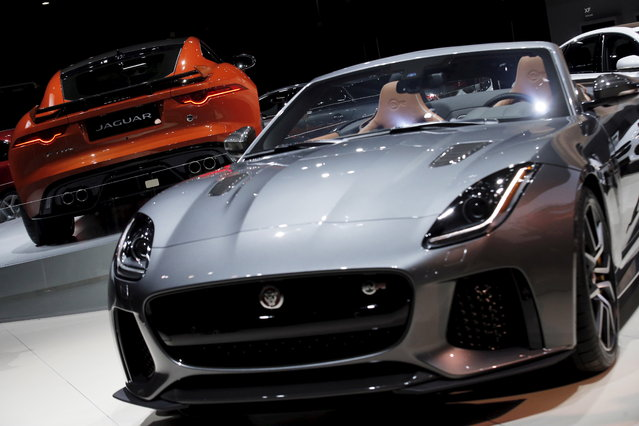 The Jaguar 2017 F-TYPE SVR coop (L) and convertible (R) are displayed during the 2016 New York International Auto Show media preview in Manhattan on March 23, 2016. (Photo by Brendan McDermid/Reuters)