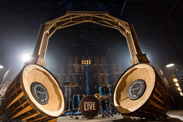Undated Bushmills handout photo of a 10ft set of headphones crafted from age old whiskey barrels which will form the centrepiece at a gig with a difference this summer. The fully functioning phones, which were crafted out of oak panelled casks from Bushmills distillery in Northern Ireland, will blast out the songs played during a two-day music festival staged at the famous whiskey makers on the Causeway coast. The distillery, whose Bushmills Live event is now in its third year, has announced Manchester-based band The 1975 as the headline act this time around. (Photo by Bushmills/PA Wire)