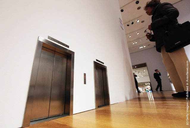 Untitled installation of miniature elevators by Maurizio Cattelan