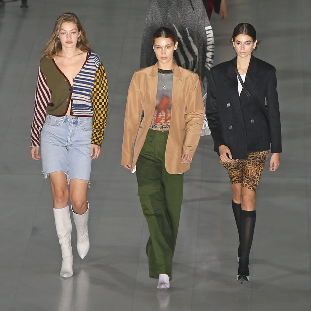 Models Gigi Hadid, Bella Hadid and Kaia Gerber walk the runway during the rehearsal ahead at the Max Mara show during the Milan Fashion Week Spring/Summer 2020 on September 19, 2019 in Milan, Italy. (Photo by Christopher Peterson/Splash News and Pictures)