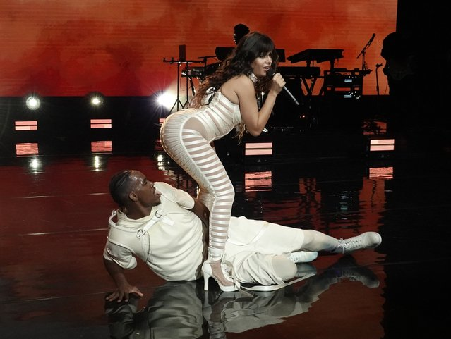 Cuban-American singer Camila Cabello wearing a white cutout catsuit and lace up stilettos performs live in concert for Verizon Up at The Fillmore Miami Beach at Jackie Gleason Theater on September 25, 2019. (Photo by The Mega Agency)
