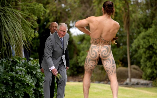 A Maori warrior prepares to challenge Prince Charles during his welcome to Takanhanga Marae in Kaikoura, New Zealand November 23, 2019. (Photo by Tracey Nearmy/Reuters)