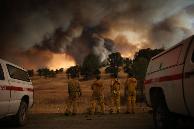 Cal Fire firefighters watch a large plume of smoke as it rises from the Rocky Fire on August 1, 2015 near Clearlake, California. Over 1,900 firefighters are battling the Rocky Fire that burned over 22,000 acres since it started on Wednesday afternoon. The fire is currently five percent contained and has destroyed at least 14 homes. (Photo by Justin Sullivan/Getty Images)