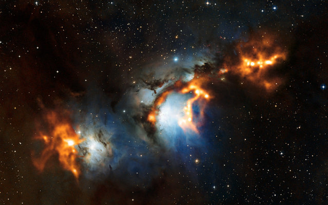 A handout picture released by the European Southern Observatory (ESO) shows cosmic dust clouds in Messier 78