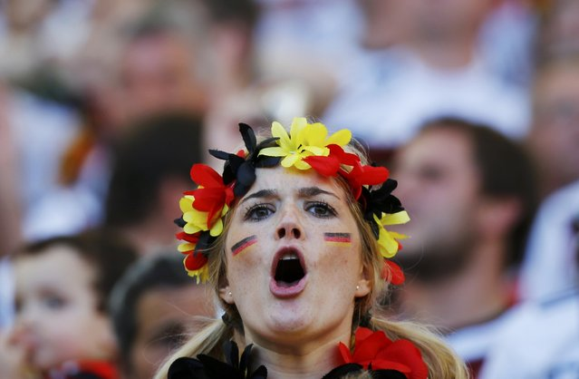 A fan of Germany waits for the start of their 2014 World Cup final against Argentina at the Maracana stadium in Rio de Janeiro July 13, 2014. (Photo by Damir Sagolj/Reuters)