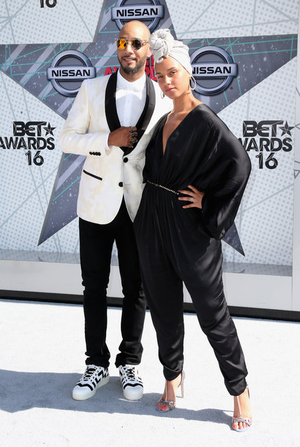 Recording artsts Swizz Beatz and Alicia Keys attend the 2016 BET Awards at the Microsoft Theater on June 26, 2016 in Los Angeles, California. (Photo by Frederick M. Brown/Getty Images)
