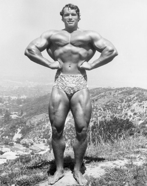 Full-length image of Austrian-born bodybuilder Arnold Schwarzenegger standing and flexing on top of a hillside near Muscle Beach, Santa Monica, California, circa 1966. He wears a floral print bathing suit. (Photo by Hulton Archive/Getty Images)