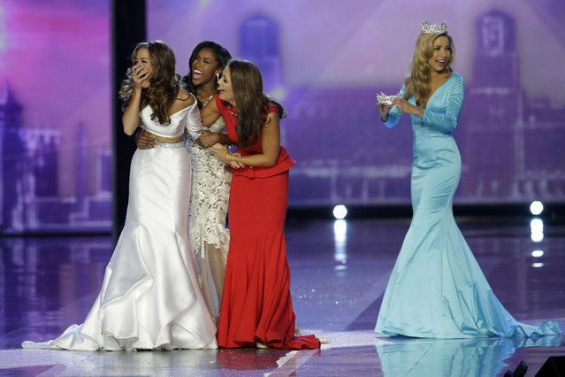 Miss Georgia Betty Cantrell, left, reacts after being named Miss America 2016 at the 2016 Miss America pageant, Sunday, September 13, 2015, in Atlantic City, N.J. (Photo by Mel Evans/AP Photo)