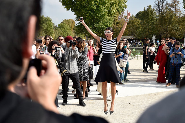 Giovanna Battaglia arrives at the Valentino show as part of the Paris Fashion Week Womenswear Spring/Summer 2015 on September 30, 2014 in Paris, France. (Photo by Pascal Le Segretain/Getty Images)