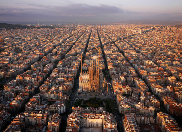 "The ""Eixample"" district with Sagrada Familia, Barcelona, Spain. (Photo by Amos Chapple/Rex Features)"
