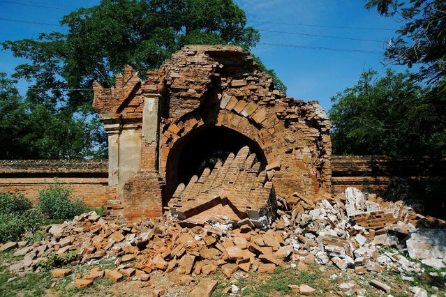 The entrance of a collapsed pagoda is seen after an earthquake in Bagan, Myanmar August 25, 2016. (Photo by Soe Zeya Tun/Reuters)