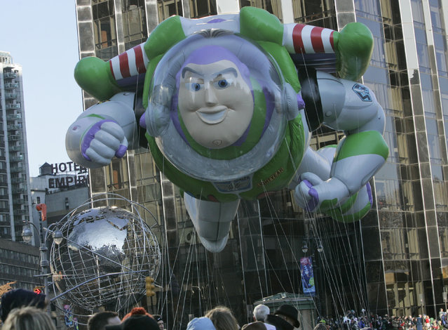 The Buzz Lightyear float moves through Columbus Circle during the Macy's Thanksgiving Day Parade Thursday, November 27, 2008  in New York. (Photo by Frank Franklin II/AP Photo)