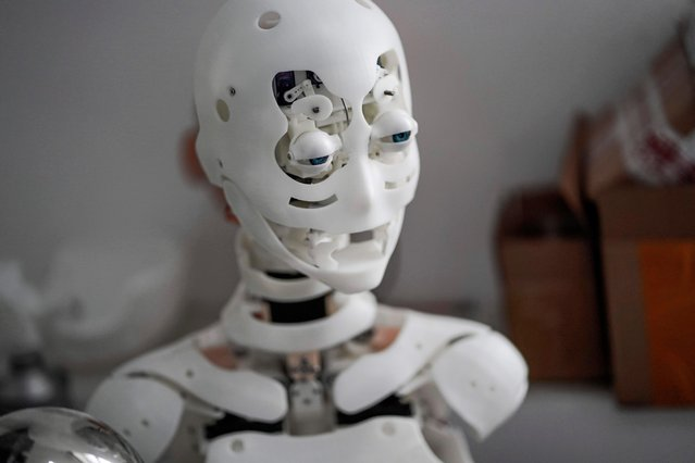 This photo taken on February 1, 2018 shows a robot in a lab of a doll factory of EXDOLL, a firm based in the northeastern Chinese port city of Dalian. (Photo by Fred Dufour/AFP Photo)