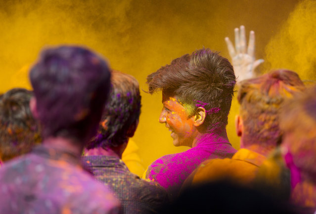 Indians play with colors during Holi celebrations in Hyderabad, India, Thursday, March 1, 2018. Holi, the Hindu festival of colors, also marks the advent of spring. (Photo by Mahesh Kumar A./AP Photo)