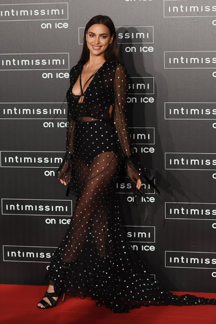 Irina Shayk attend the Intimissimi On Ice event held in Verona, Italy on October 07, 2016. Intimissimi, a luxury lingerie brand, hosted the fashion show which included a performance by legendary classical singer Andrea Bocelli. (Photo by FameFlynet UK)