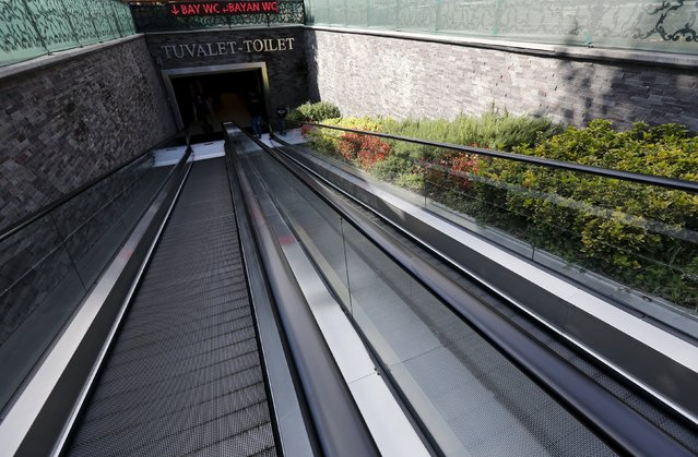 The entrance to a public toilet with escalator ramps is seen in Istanbul, Turkey, October 9, 2015. (Photo by Murad Sezer/Reuters)