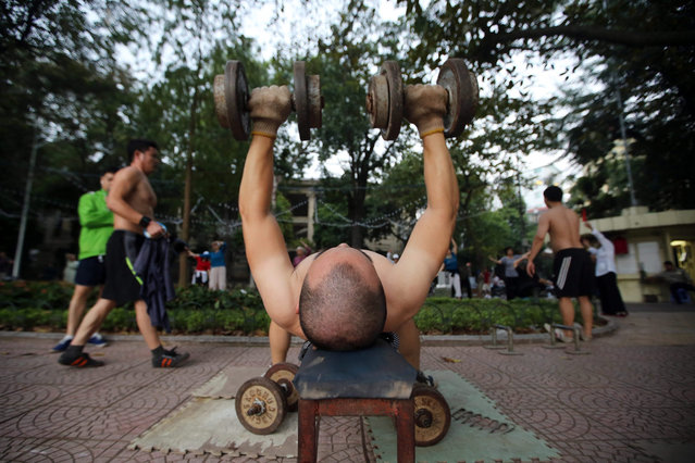 A man exercises by Hoan Kiem lake in central Hanoi, Vietnam, 23 November 2015. Many Vietnamese people gather around the lake in the early morning and evening for their daily exercises. (Photo by Luong Thai Linh/EPA)