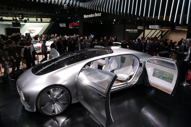 The Mercedes-Benz F 015 concept is introduced to the media during the 2015 North American International Auto Show at Cobo Center on Monday, January 12, 2015 in Detroit. (Photo by Ryan Garza/Detroit Free Press/TNS)