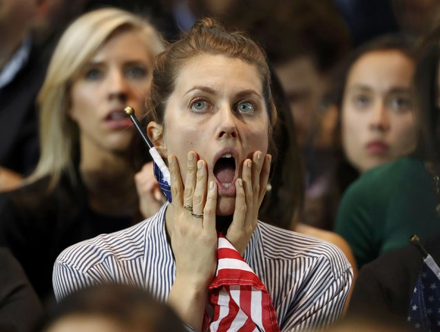 Supporters of U.S. Democratic presidential nominee Hillary Clinton react at her election night rally in Manhattan, New York, U.S., November 8, 2016. (Photo by Lucas Jackson/Reuters)