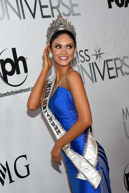 The winner of 2015 Miss Universe, Pia Alonzo Wurtzbach, poses for a press conference during the 2015 Miss Universe Pageant at The Axis at Planet Hollywood Resort & Casino on December 20, 2015 in Las Vegas, Nevada. (Photo by Ethan Miller/Getty Images)