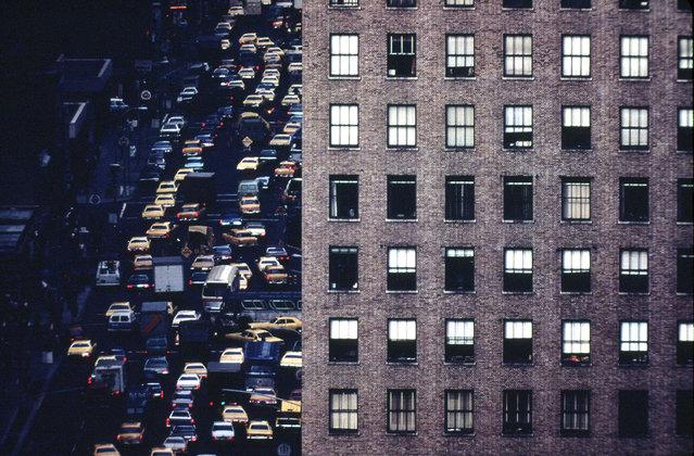 Idled traffic heading north on Sixth Avenue (Avenue of the Americas) near 42nd street, April 1973. (Photo by Dan McCoy/NARA via The Atlantic)