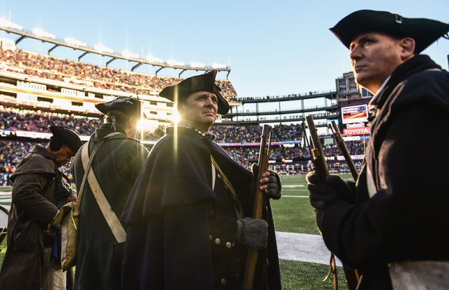 Members of the End Zone Militia look on during a game between the New England Patriots and the New York Jets at Gillette Stadium on December 24, 2016 in Foxboro, Massachusetts. (Photo by Billie Weiss/Getty Images)