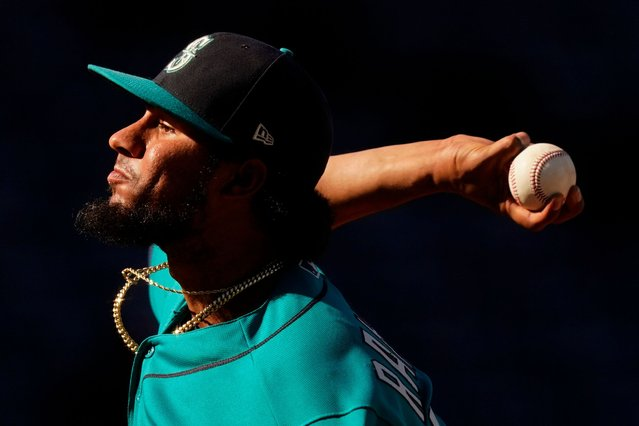 Seattle Mariners relief pitcher Yohan Ramirez throws during the ninth inning of a baseball game against the Kansas City Royals Sunday, September 19, 2021, in Kansas City, Mo. The Mariners won 7-1. (Photo by Charlie Riedel/AP Photo)
