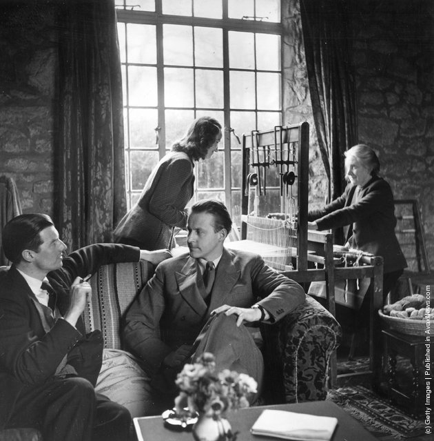 Thor Heyerdahl is being interviewed, his wife is seen learning the craft of weaving in the background at their cottage on Dartmoor