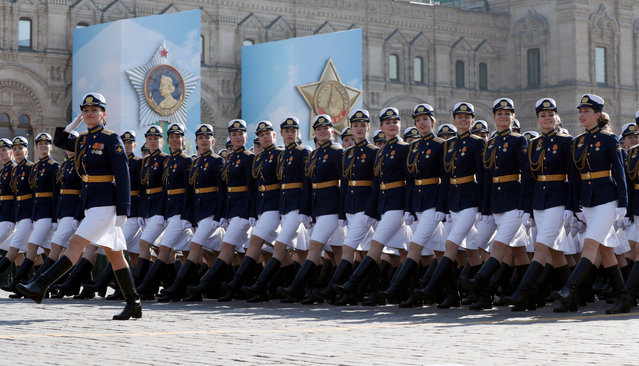 Russian girls, students of a military high school, march during the final rehearsal of the Victory Day parade at Red Square in Moscow, Russia, 07 May 2019. Russia will mark the 74th anniversary of the victory over Nazi Germany in the World War II and it's allies on 09 May. The Soviet Union lost 27 million people during the war. (Photo by Yuri Kochetkov/EPA/EFE)