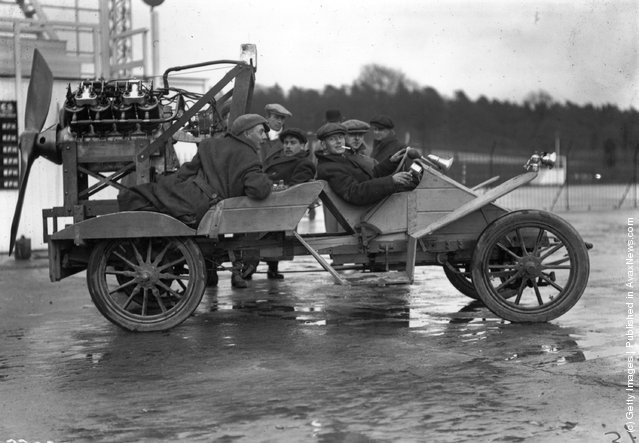 1911: A motor car at Brooklands race track which has been fitted with a propeller for extra speed