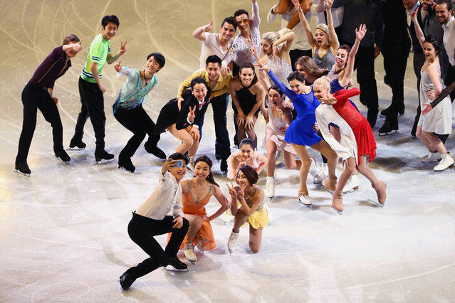 Alex Shibutani of the United States, bottom let, takes a selfie with other figure skaters during the Exhibition of Champions on Day 7 of the ISU World Figure Skating Championships 2016 at TD Garden on April 3, 2016 in Boston, Massachusetts. (Photo by Maddie Meyer/Getty Images)