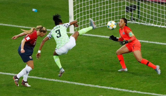 Nigeria's Osinachi Ohale scores an own goal and Norway's third during the 2019 FIFA Women's World Cup France group A match between Norway and Nigeria at Stade Auguste Delaune on June 8, 2019 in Reims, France. (Photo by Gonzalo Fuentes/Reuters)