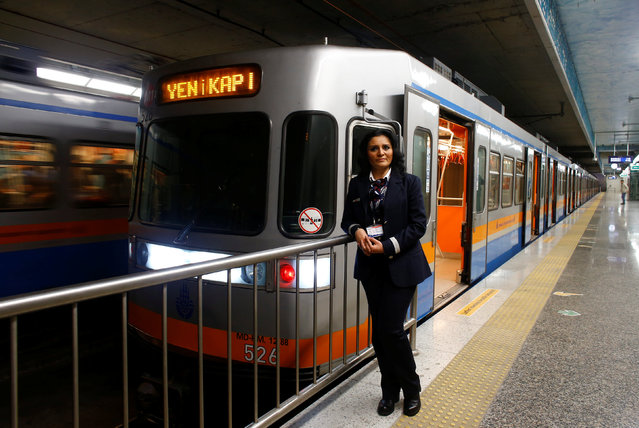 """Serpil Cigdem, 44, an engine driver, poses for a photograph at Yenikapi station in Istanbul, Turkey, February 24, 2017. """"When I applied for a job 23 years ago as an engine driver, I was told that it is a profession for men. I knew that during the written examination even if I got the same results with a male candidate, he would have been chosen. That's why I worked hard to pass the exam with a very good result ahead of the male candidates. In my opinion, gender inequality starts in our minds saying it's a male profession or it's a men job"""", said Cigdem. (Photo by Osman Orsal/Reuters)"""