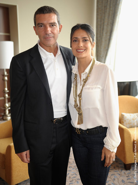 Antonio Banderas and Salma Hayek attend premiere of Puss In Boots
