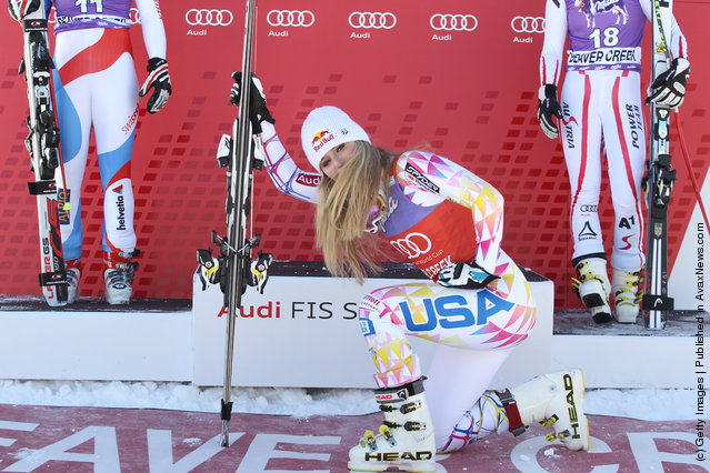 Lindsey Vonn of the USA takes 1st place during the Audi FIS Alpine Ski World Cup WomensSuperG