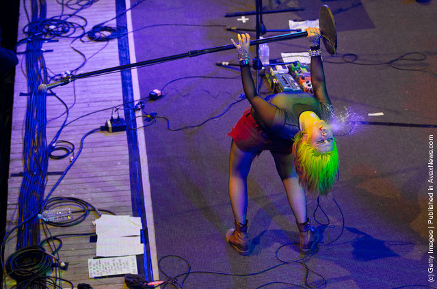 Lovefoxxx of CSS performs on stage on day one of the Falls Music Festival