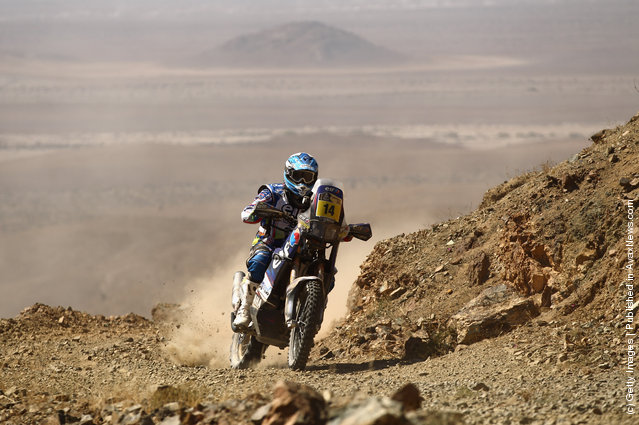 David Casteu of France and Yamaha Racing France/ELF in action during stage seven of the 2012 Dakar Rally