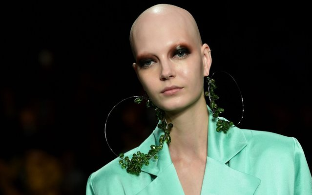 A model presents a creation for Act N°1 during the Women's Spring Summer 2020 collection fashion show on September 19, 2019 in Milan. (Photo by Miguel Medina/AFP Photo)